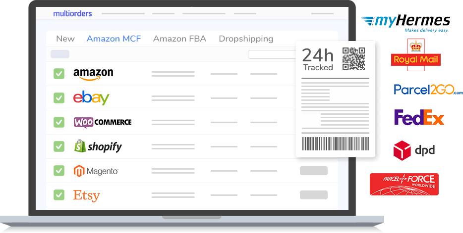 Shipping Management Software for Ecommerce Multiorders Print Labels Connect marketplaces carts carriers update orders track orders