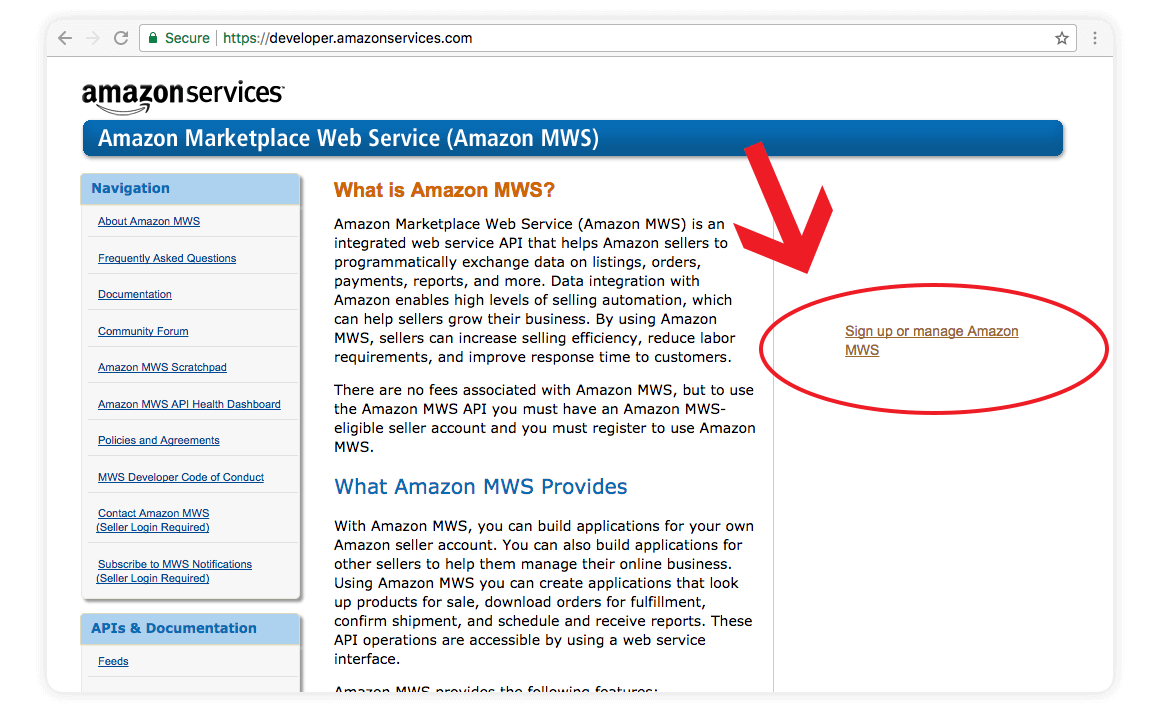 Amazon US sign up or manage amazon mws integration screen shot - amazon integration guide