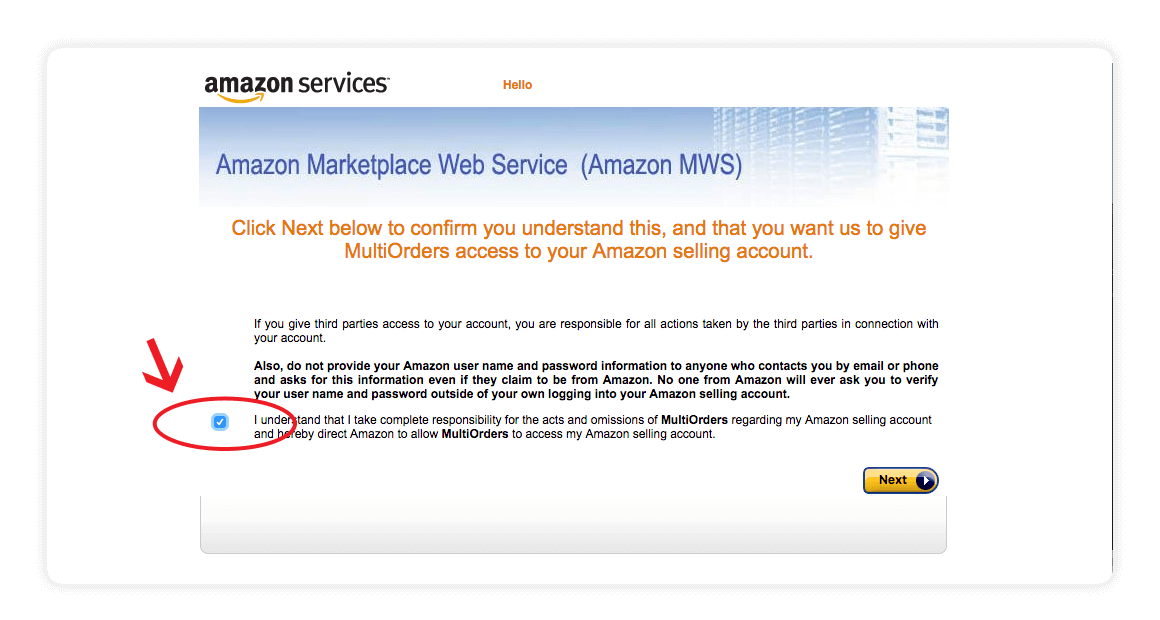 Amazon MWS developers id developers name integration screen shot - amazon integration guide