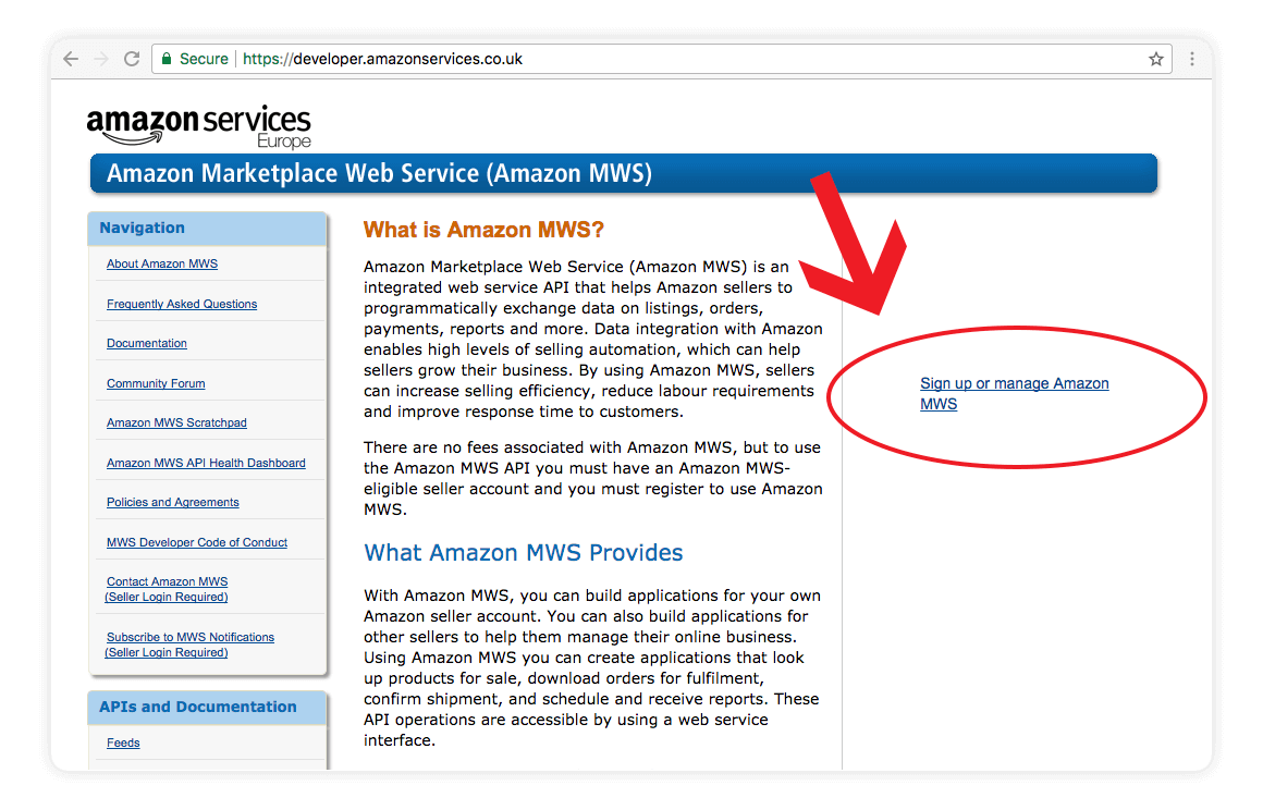 Amazon MWS Sign up or manage amazon mws screen shot - amazon integration guide