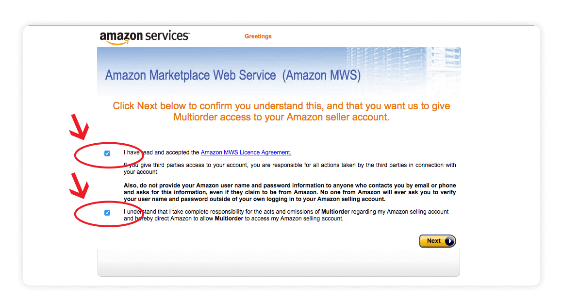 Amazon MWS confirm access screen shot - amazon integration guide