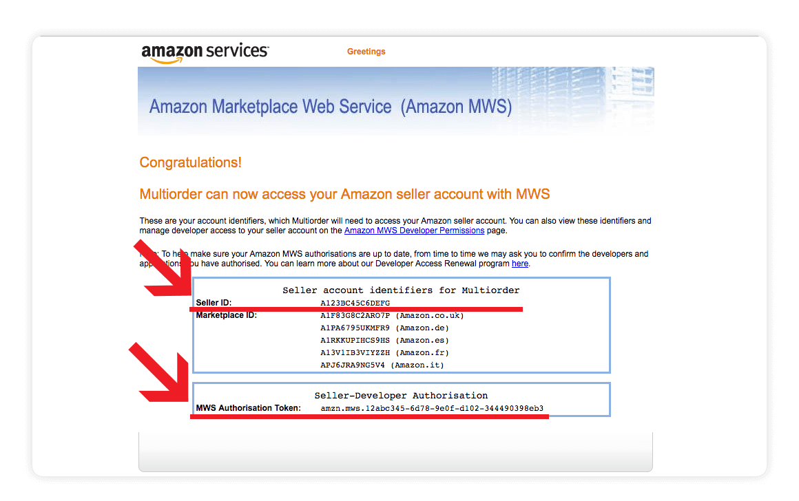 Amazon MWS account identifiers screen shot - amazon integration guide