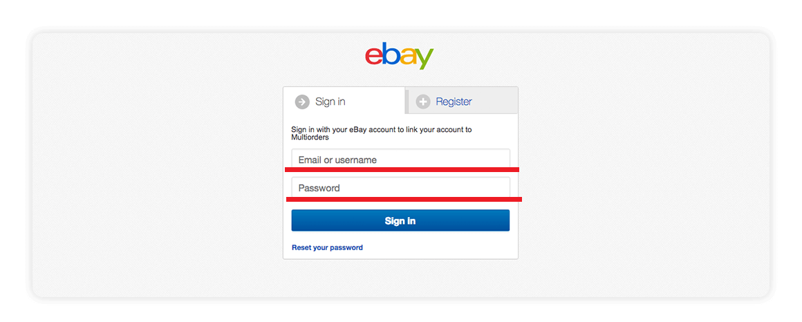 Ebay Sign In page Multiorders integrations guide