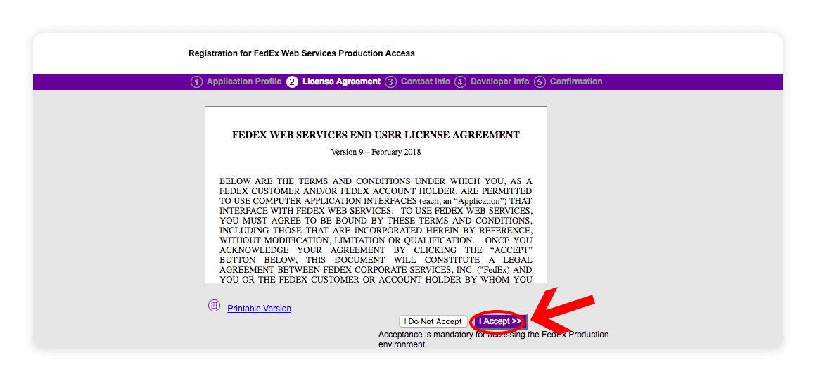 Fedex Web Services License Agreement - I accept - multiorders integrations guide