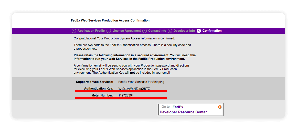 Fedex Web Services Authentication Key Meter Number - multiorders integrations guide