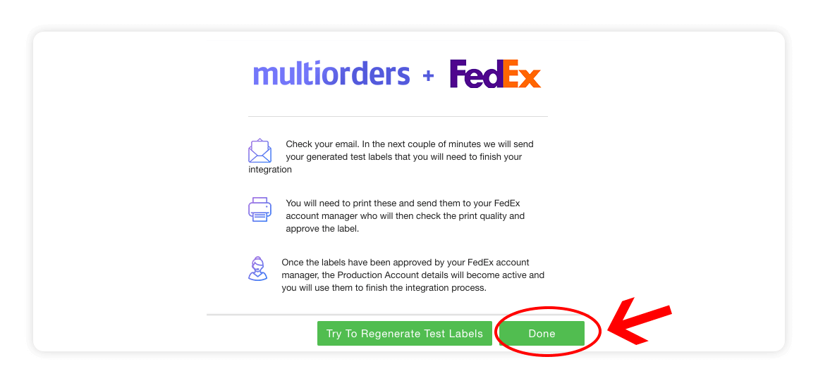 Fedex integration page - instructions - multiorders integrations guide