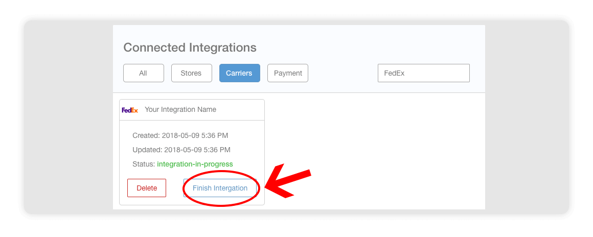Fedex integration page - finish integration - multiorders integrations guide
