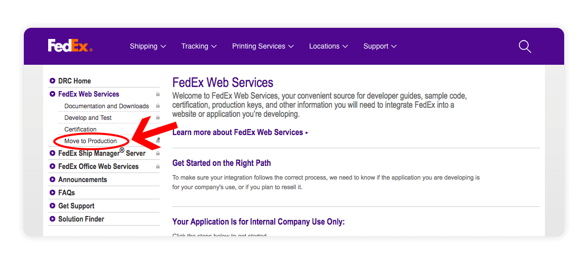 Fedex Web Services Move to Production - multiorders integrations guide