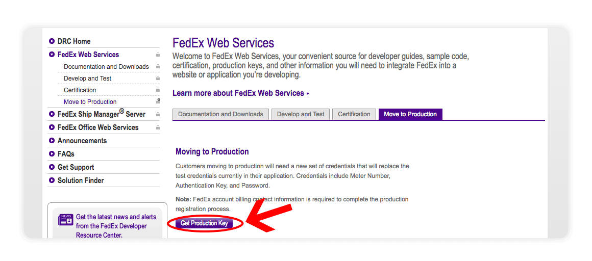 Fedex Web Services Get Production Key - multiorders integrations guide