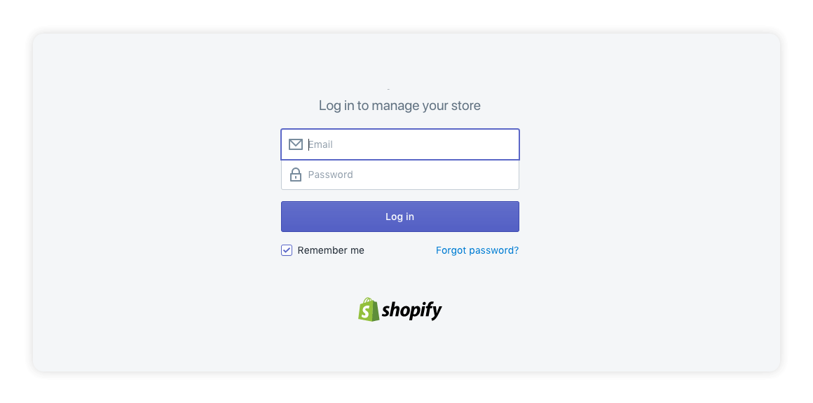 Shopify login page - multiorders integrations guide