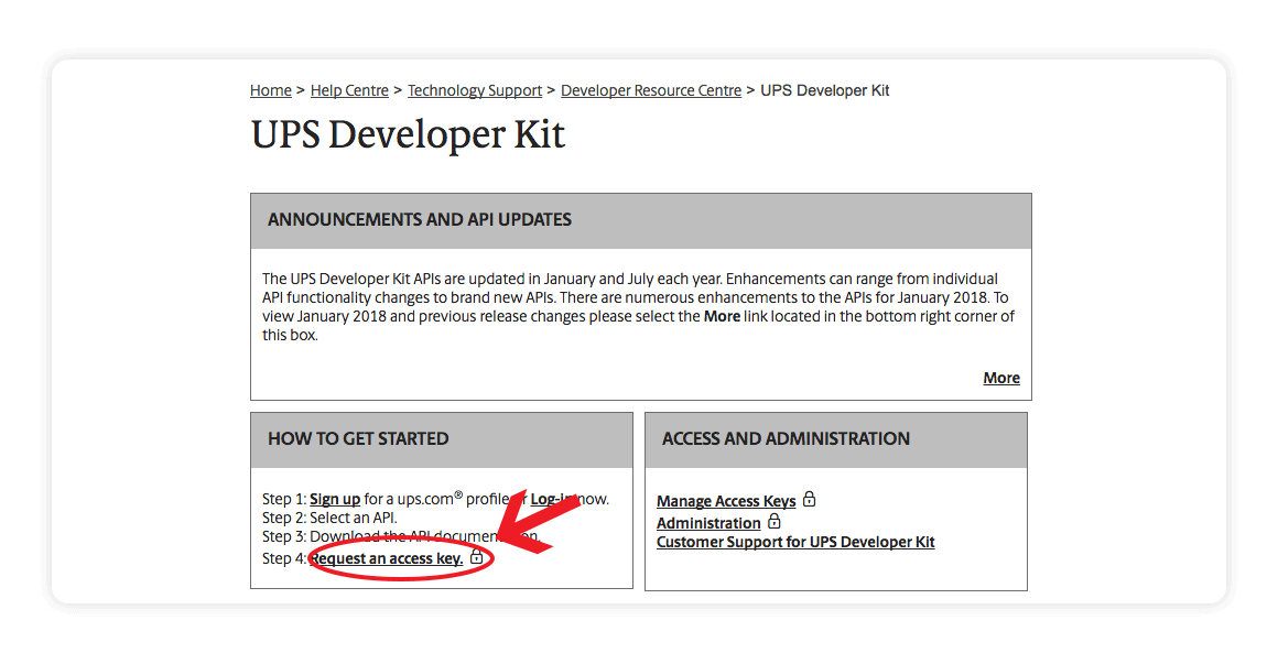 UPS Developer Kit - request an access key - Multiorders integration guide