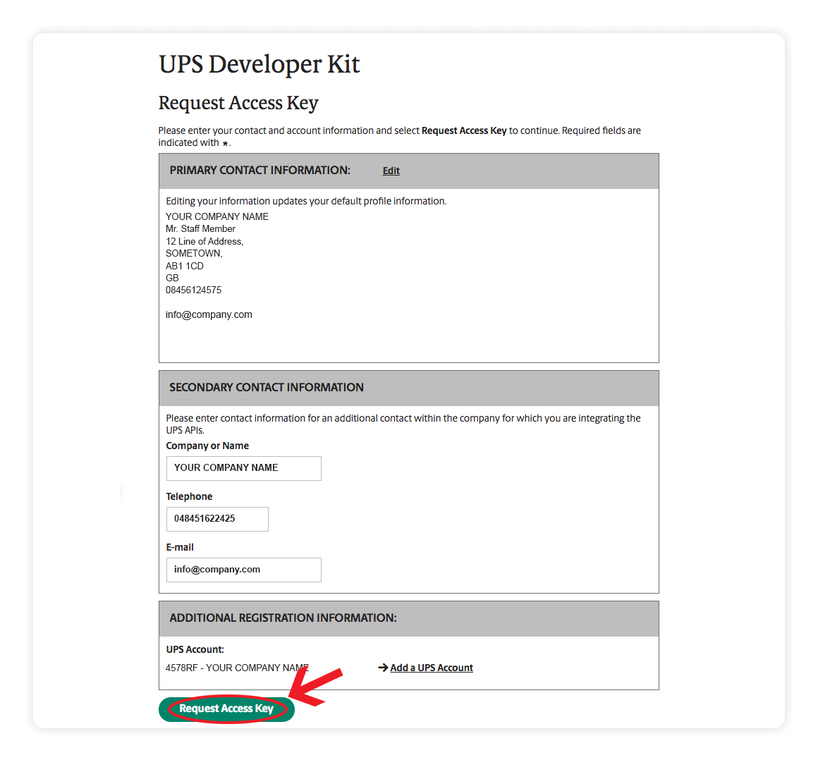 UPS Developer Kit - request access key - Multiorders integration guide