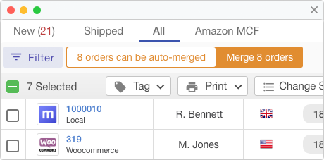 Automatic notification will suggest when you can merge orders that have come from the same person