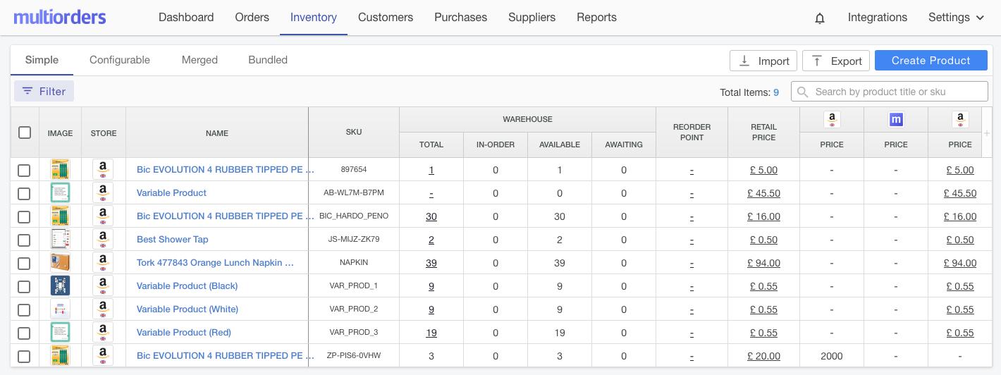 Amazon Inventory Screenshot Multiorders