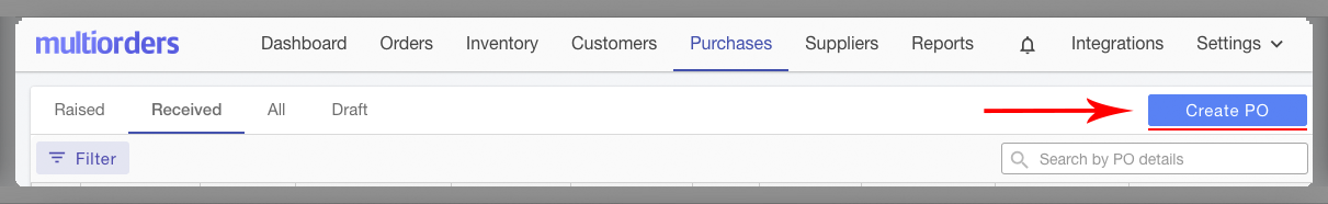Create Purchase Order Button Multiorders