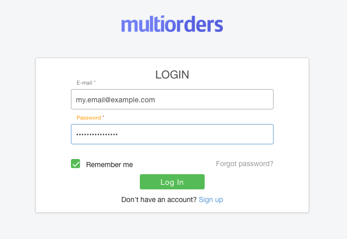 Login Screenshot Multiorders