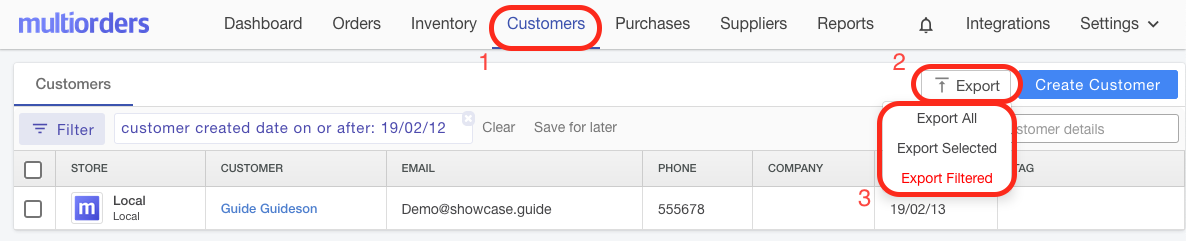 Export Customer Screenshot Multiorders