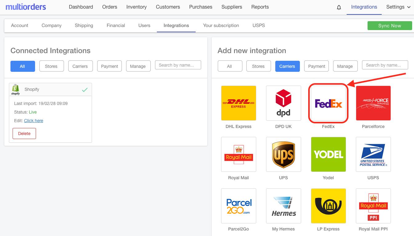 FedEx Integration Icon Screenshot Multiorders