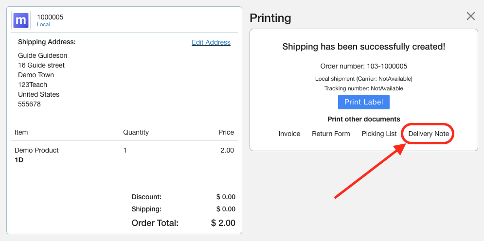 Print Shopify Delivery Note