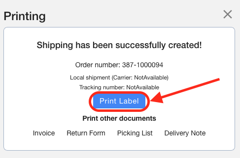 Click Print Label Screenshot Multiorders