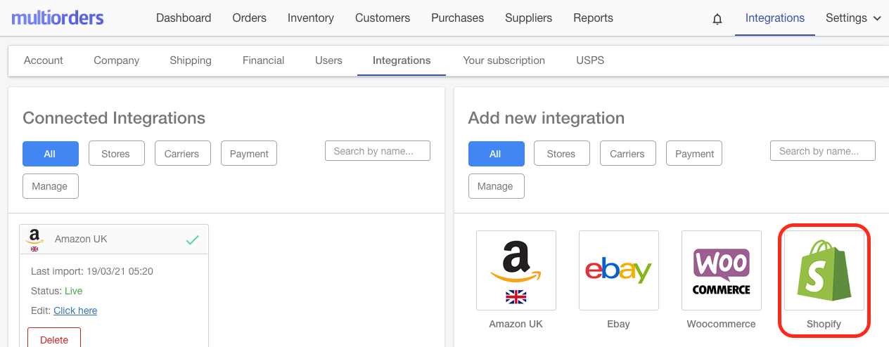 Integrate Shopify And Amazon UK Screenshot Multiorders