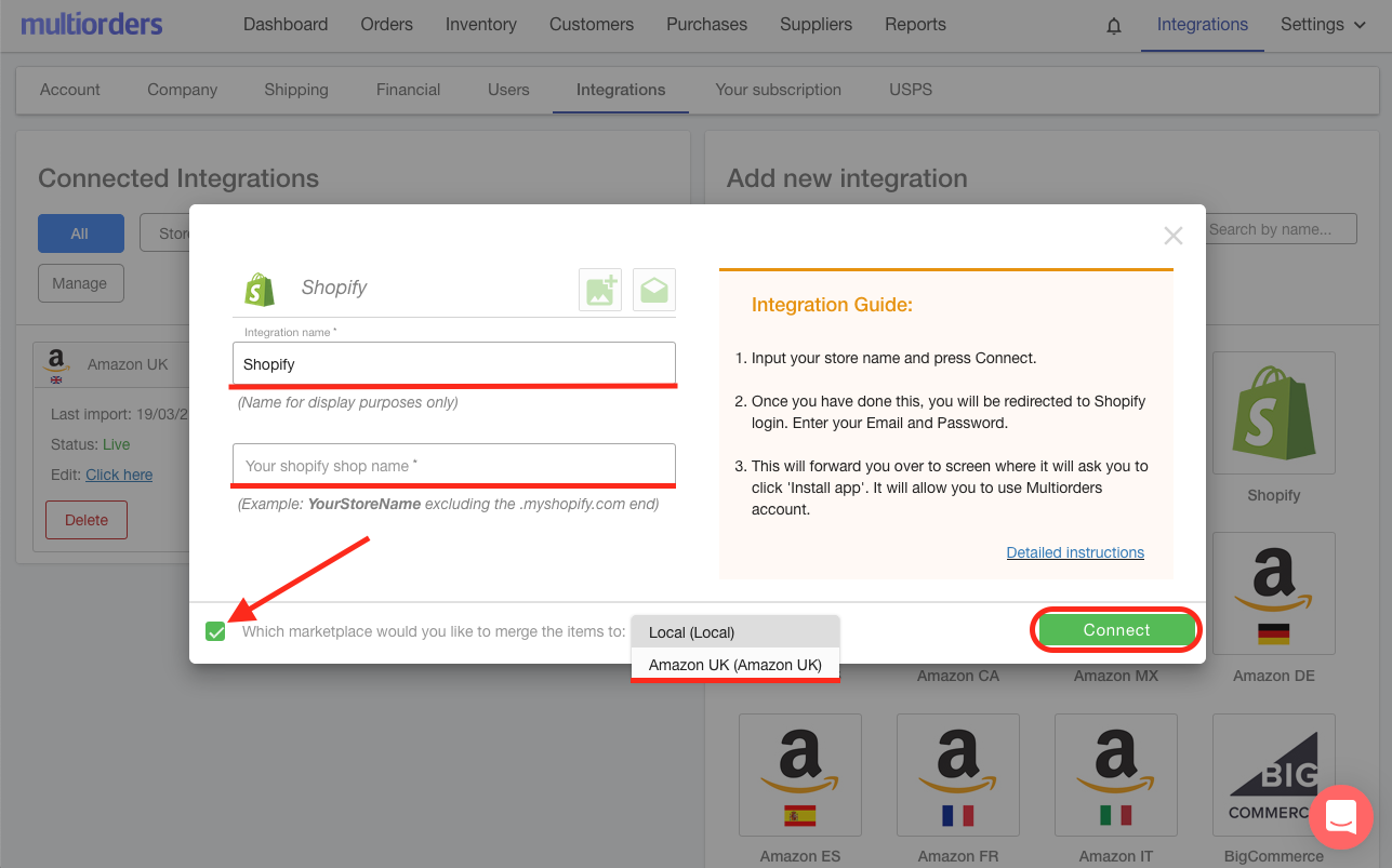 Merge Shopify To Amazon UK Screenshot Multiorders