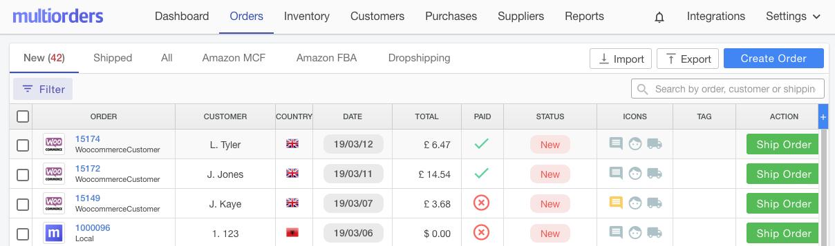 New Orders Screenshot Multiorders