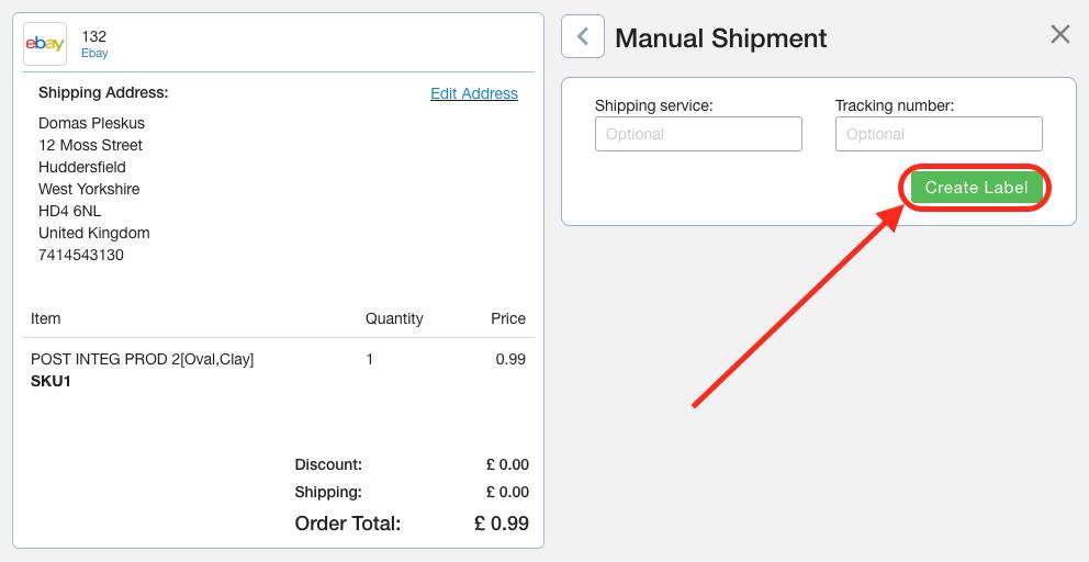 Create Label For eBay Order Screenshot Multiorders