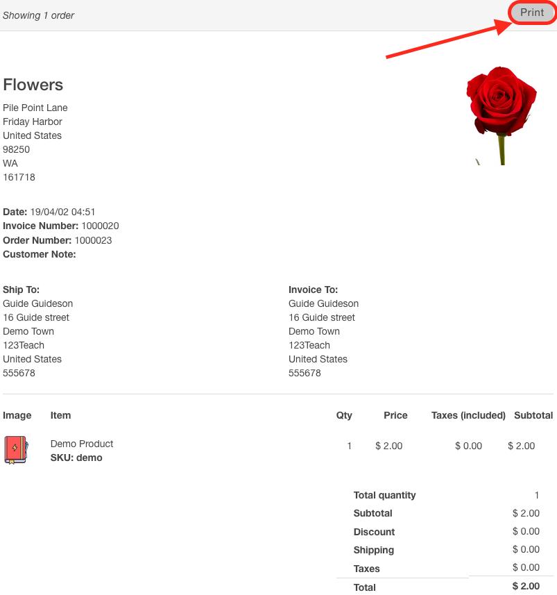 Invoice Screenshot Multiorders