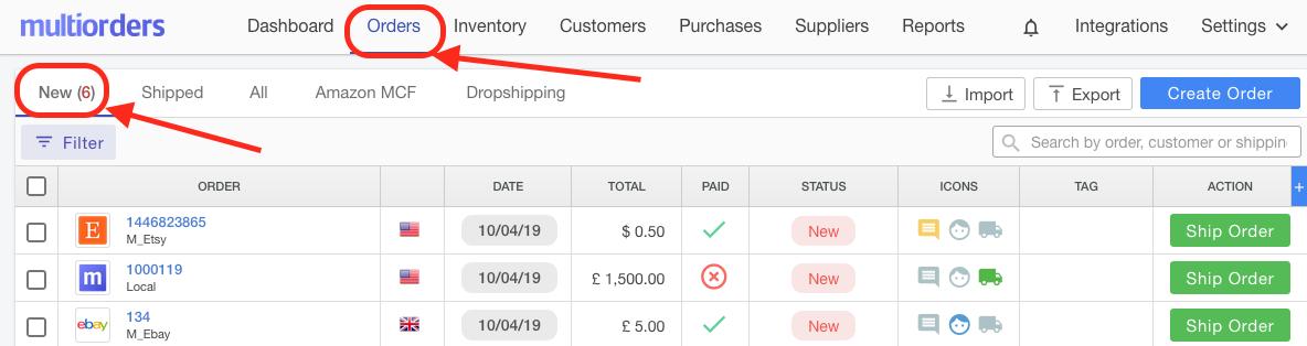 New Orders eBay Etsy Local Screenshot Multiorders